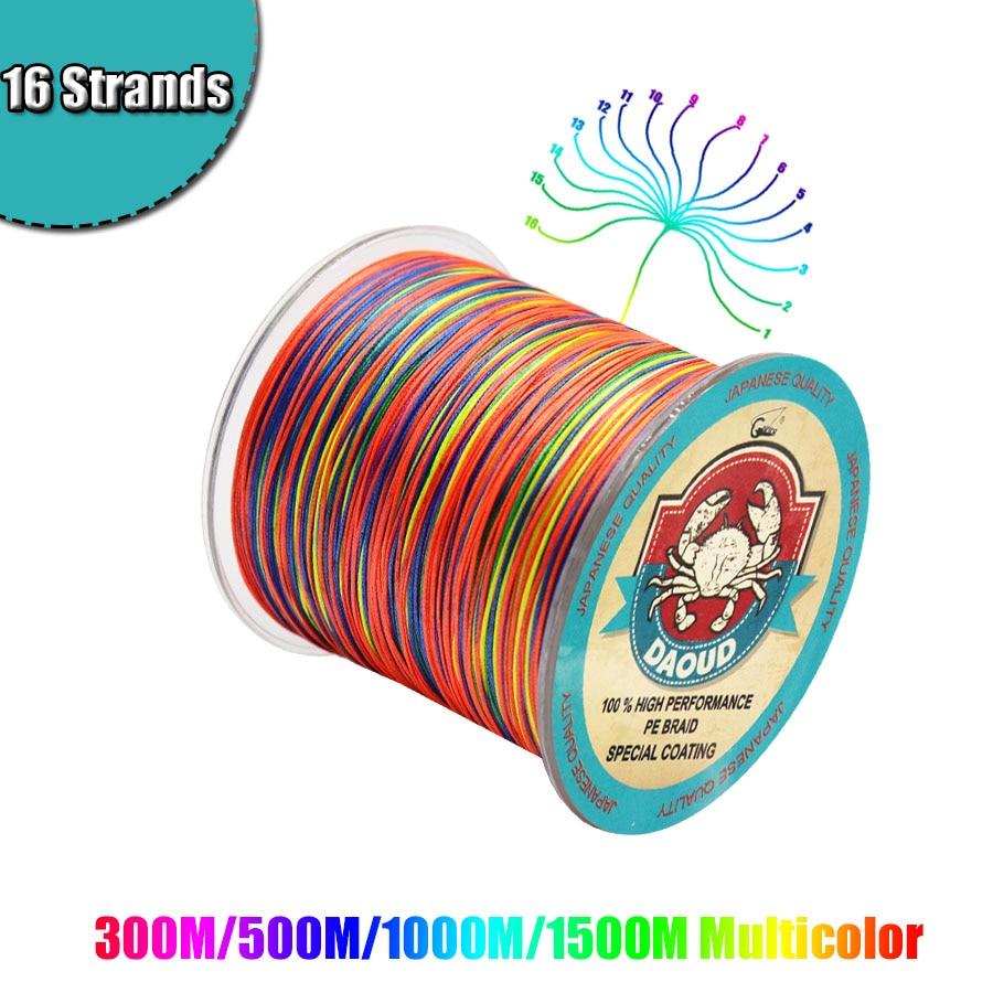 300M/500M/1000M/1500M Braided Fishing Line 16 Strands PE Braid Multicolor Super Power Japan Multifilament Line for Crap Fishing
