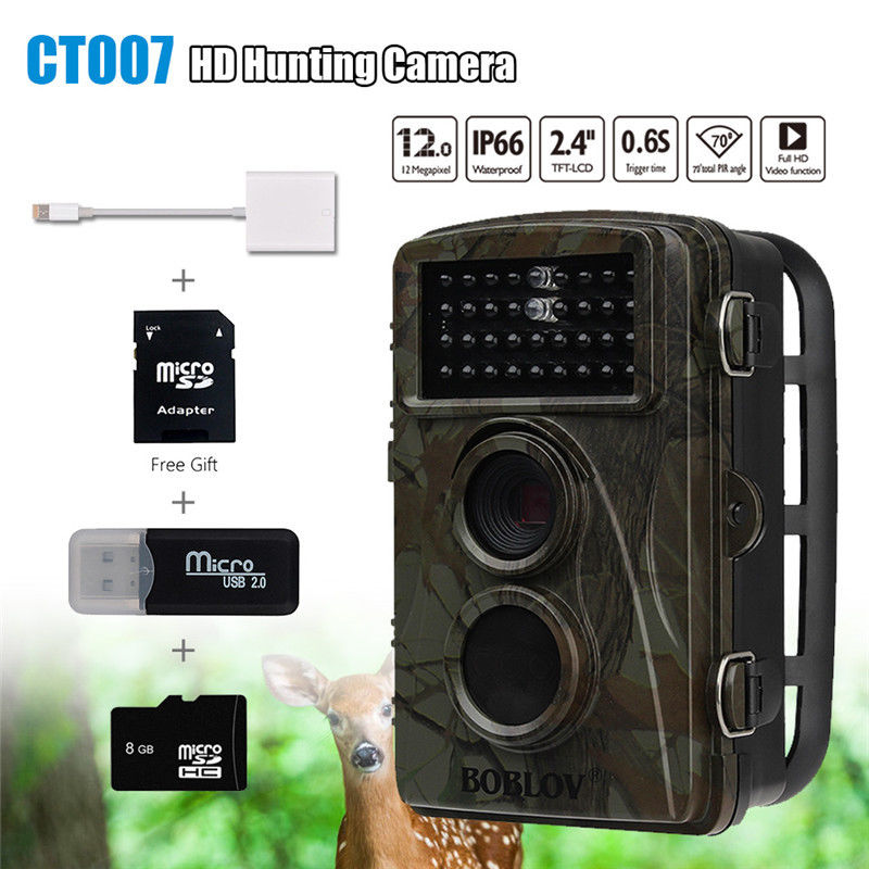 BOBLOV CT007 1080P HD 12MP 8GB Hunting Scouting Trail Camera Game Wildlife IR LED Night Vision w/2in1 Lightning SD Reader Cable