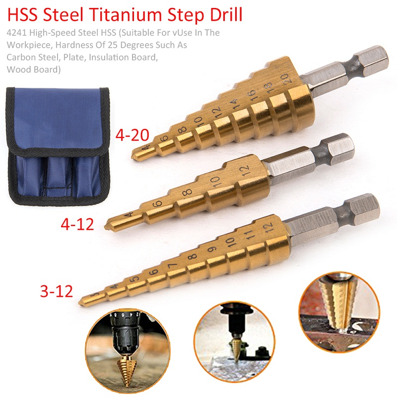 3Pcs Metric Spiral Flute The Pagoda Shape Hole Cutter  HSS Steel Cone Drill Bit Set HSS Steel Step Sharpening 3pcs set metric spiral flute step hss steel 4241 cone titanium coated drill bits tool set hole cutter 4 12 20 32mm