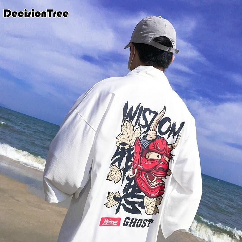 2019 japanese printing cotton linen male long sleeve kimono men kimono cardigan black sunscreen coat men Windbreaker in Asia Pacific Islands Clothing from Novelty Special Use