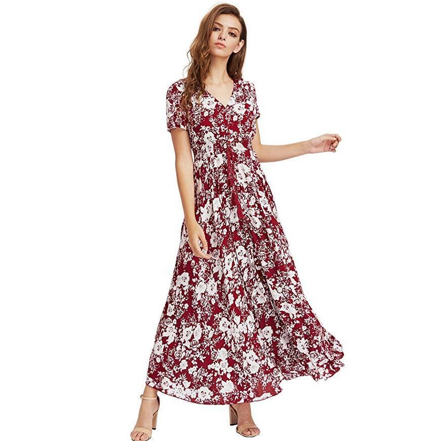 cheapest sale top style choose official US $13.57 35% OFF|Ladies Dresses Summer Dress Women Maxi Sundress Button Up  Split Floral Print Flowy Evening Party Female Long Dresses Vestidos-in ...