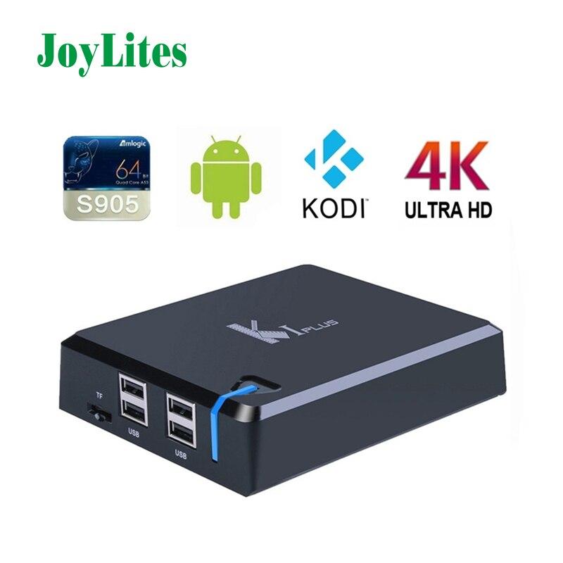 K1 S905 Más Amlogic Android 5.1 Piruleta 4 K OTT Caja de la TV Quad Core Bits 1 GB/8 GB H.265 Decodificación de Hardware 4 K UHD WIFI DLNA