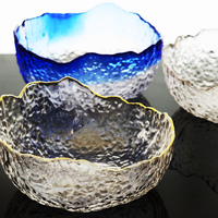 Japanese Style Pure Color 7 Inch Transparent Glass Bowls Tableware Large Size Irregular Fruit Creative Salad Bowl Dessert Bowl