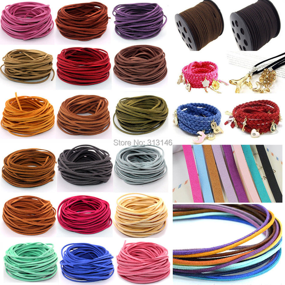 3mm 10yds Flat Faux Suede Braided Cord Korean Velvet Leather DIY Handmade Beading Bracelet Jewelry Making Thread String Rope