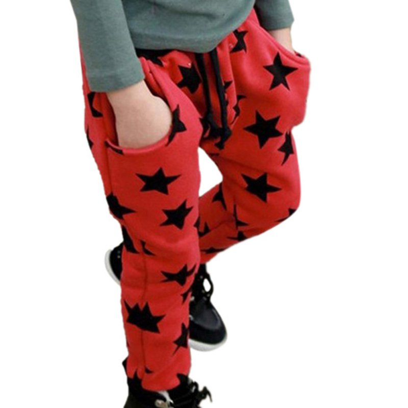 Hot Sale 2017 New spring autumn cotton kids pants Boys Girls Casual Long Pants Stars Pattern Pants 2 Colors Kids Sports trouser