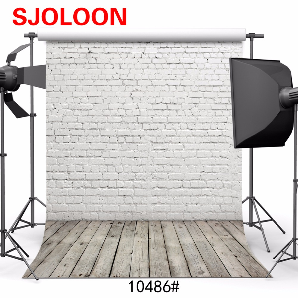White brick wall wood floor background Photography backdrops 3x5m Fond studio photo vinyle Photography-studio-backdrop SJOLOON