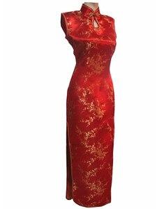 Image 5 - Vestido largo de satén con cuello Halter para mujer, Cheongsam Qipao, Mujere, Vestido tradicional chino, negro y rojo, talla de flor S, M, L, XL, XXL, XXXL, J3035