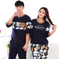 Плюс szie M-XXXL пары пижамы осенью и зимой пижамы отдыха костюм хлопка с длинными рукавами костюм мужчины весна пижамы женщин