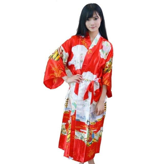 6183db2357 Hot New Red Japanese Women Kimono Bath Gown Long Silk Sleepwear Sexy  Lingerie Bridesmaid Wedding Robe With Belt One Size 010641