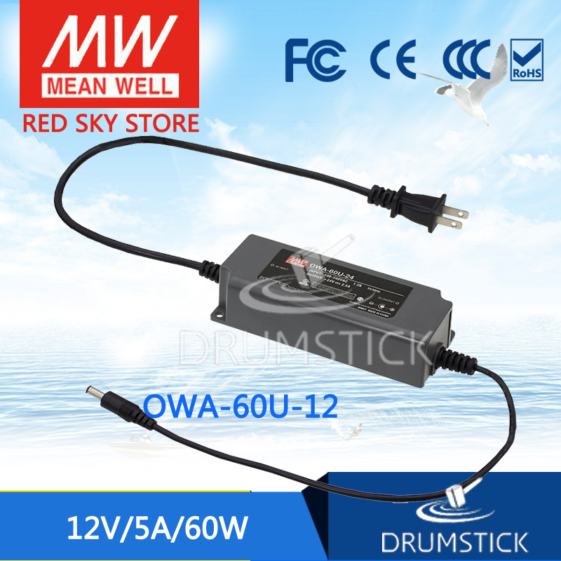 Genuine MEAN WELL OWA-60U-12 12V 5A meanwell OWA-60U 12V 60W Single Output Moistureproof Adaptor USA Type genuine mean well irm 60 12st 12v 5a meanwell irm 60 12v 60w screw terminal style