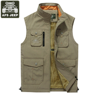 AFS JEEP 2017 Brand Clothing Men Vest Fashion Multi Pockets Vest Male Outerwear Stand Collar Mens