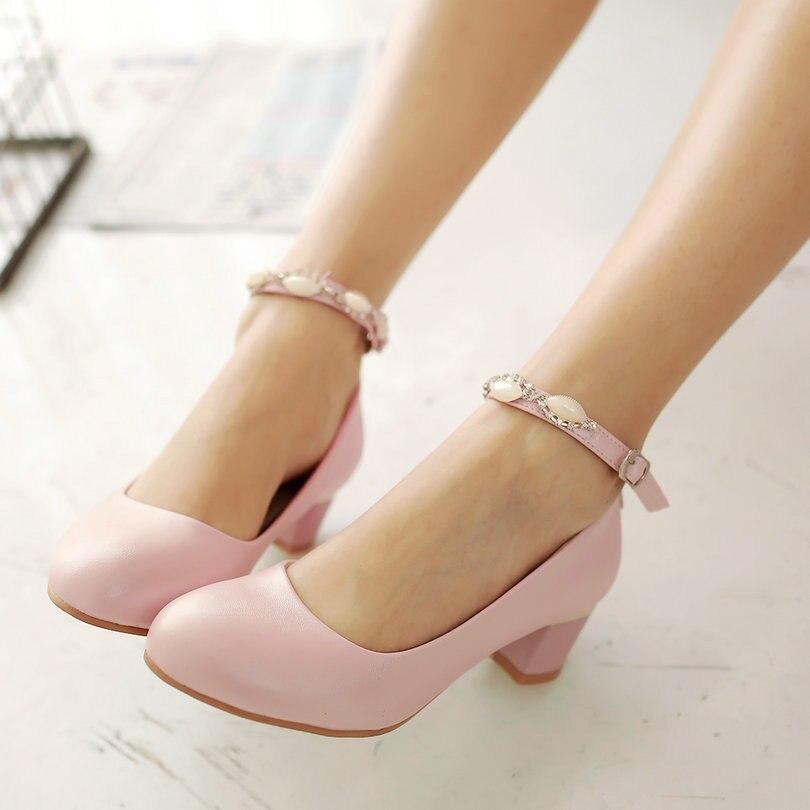 ФОТО PU leather Rhinestone Ladies Spring Shoe Woman Pump Pointed Toe Pink Ankle Strap Platform Ladies Wedding Shoe Size 34-43