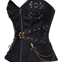 Hot Sale Black Zipper Front Rivet Hardware Decoration Steampunk overbust corset waist with Thong gothic Corsets