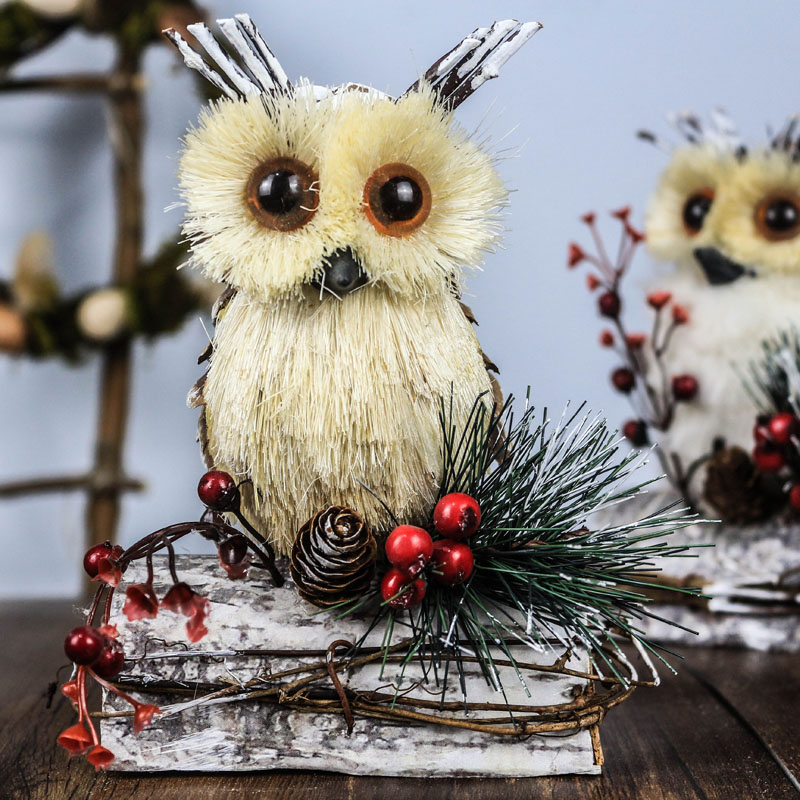 """10.6"""" New Year's Products Straw Owl Home Decor Christmas ..."""