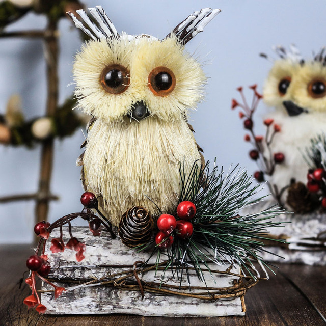 106 new years products straw owl home decor christmas decorations halloween animals handcraft holly pine