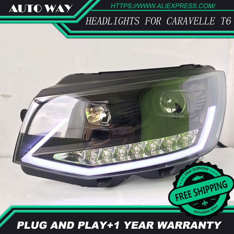 Car Styling H7 Head Lamp case for VW Caravelle T6 Headlights Caravelle 2017 2018 LED Headlight DRL Lens Double Beam Bi-Xenon
