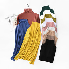 womens top Long sleeve Turtleneck t shirt all match women bts Solid color