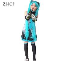 ZNCJ Hatsune Miku Cosplay VOCALOID Blue And Black Satin Uwowo Costume Full Set With Wig