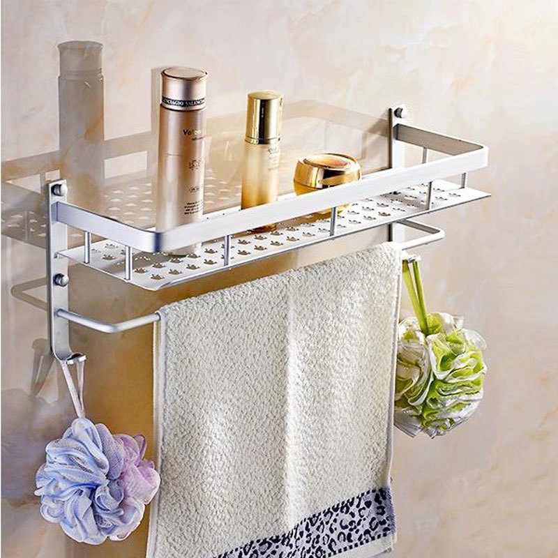 Aluminum 1 Tier 40cm Wall Mounted Bathroom Shelf  Washing Shower Basket With Towel Bar Hooks Shelves Accessories Storage #809015 thick aluminum 3 layer bathroom corner shelf wall washing shower basket shelves storage with hooks bathroom accessories 8115a16