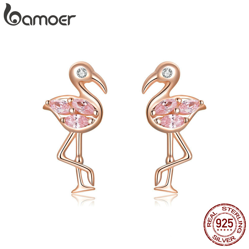 Bamoer Summer Flamingos Stud Earrings For Women Pink Cubic Zirconia Ear Studs Romantic Female Silver 925 Jewelry Gifts BSE120