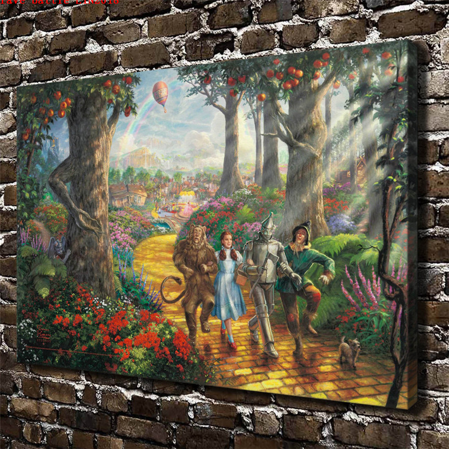 Thomas kinkade follow the yellow brick road canvas - Home interiors thomas kinkade prints ...