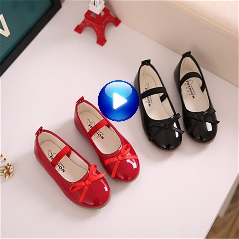 მოდის გოგონები ფეხსაცმელი ტყავის გოგონები კაბა ფეხსაცმელი შავი წითელი რბილი ბავშვთა დიზაინერი ცეკვა ბინა ფეხსაცმლის ზომა 21-36