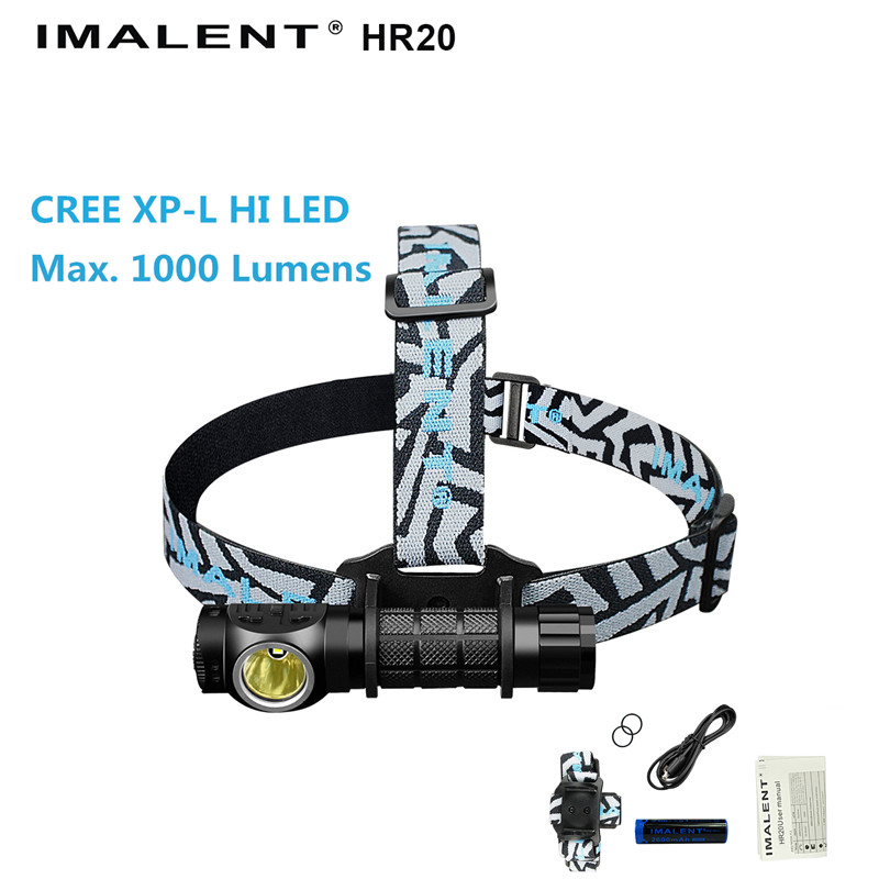 Headlight IMALENT HR20 CREE XP-L HI LED max. 1000 lumens beam throw 225 meters USB rechargeable headlamp with battery + USB cabl fenix cree xp e2 r5 led 450lumens 4aa batteries headlamp headlight