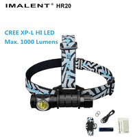 Headlight IMALENT HR20 CREE XP L HI LED max. 1000 lumens beam throw 225 meters USB rechargeable headlamp with battery + USB cabl