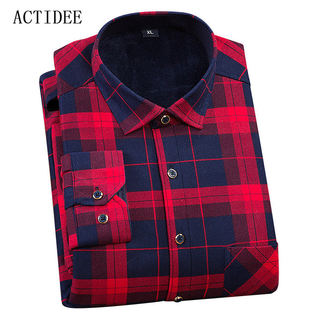 2017 Winter Warm Plaid Casual Shirt Men Long Sleeve Dress Velvet