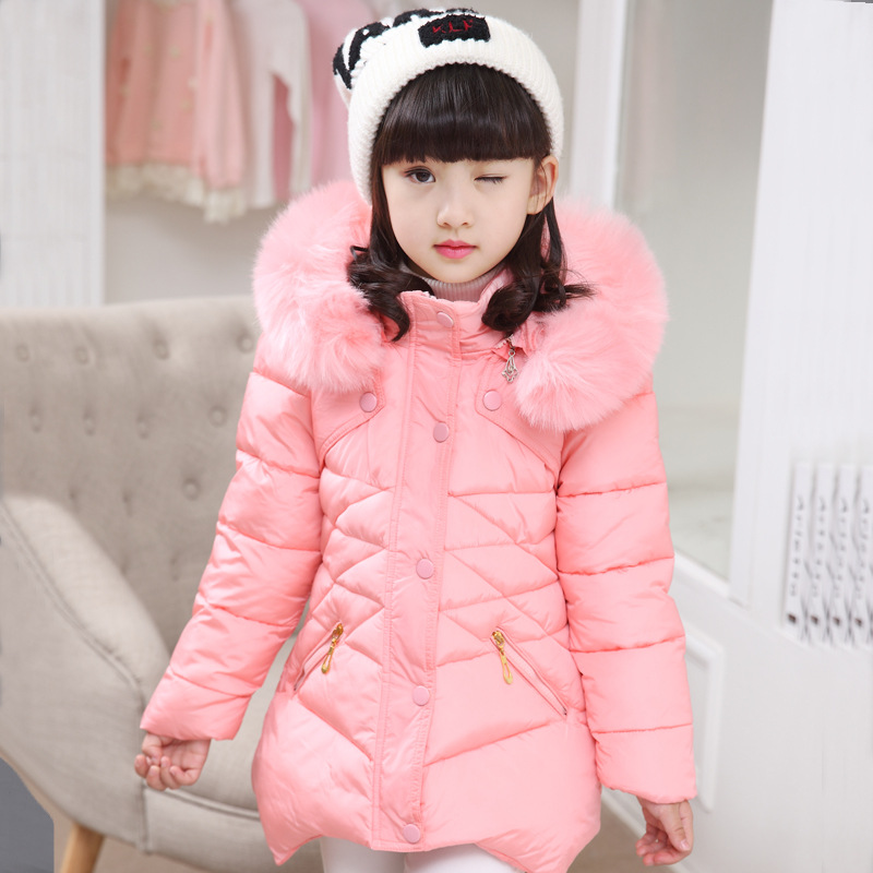 Warm Girls Winter Coat Down Jacket Children Cotton Parkas Kids Winter Outerwear Fur Hooded Baby Down Jackets For Girls TZ186 children winter coats jacket baby boys warm outerwear thickening outdoors kids snow proof coat parkas cotton padded clothes