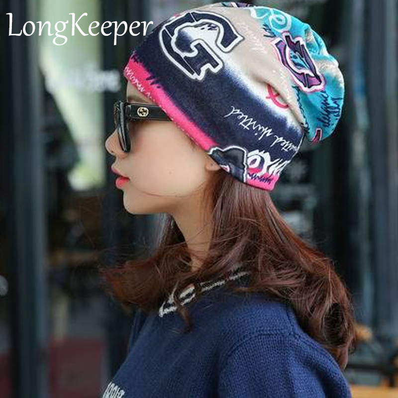 LongKeeper Autumn Winter Casual Brand Hats for Women Plaid Lady Caps Letter Printed Pile Cap Female Beanies Wholesale and Retail female caps for autumn
