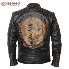 MAPLESTEED Vintage motosiklet ceket erkek deri ceket inek derisi siyah kafatası hakiki deri ceket erkekler Biker ceket kış 091