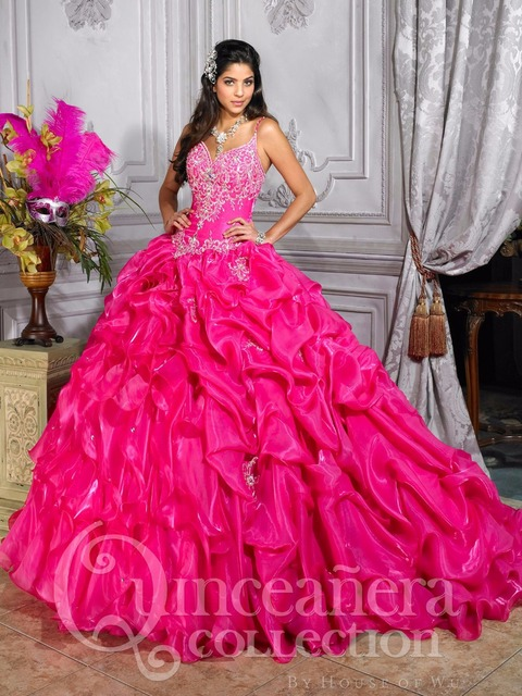 Aliexpress.com : Buy Amazing Corset Hot Pink Quinceanera Dresses ...