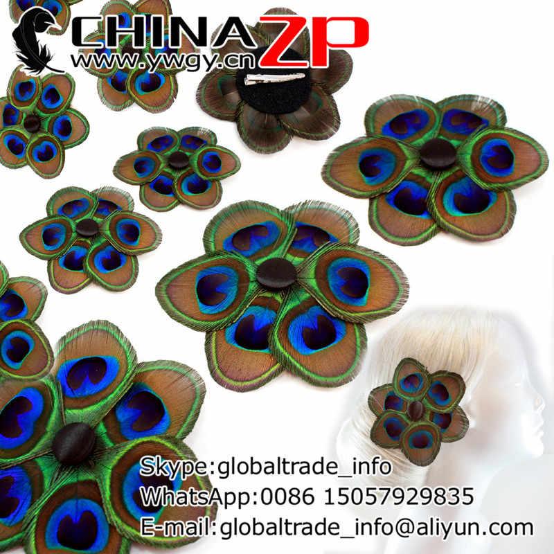 Vàng nhà sản xuất trong chinazp Nhà máy handmade hoa tự nhiên con công xuất lông kẹp cho phù dâu phụ kiện tóc