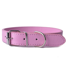 Pink Pu Leather Dog-Collar Adjustable Pet Puppy Dog Cat Collars For Small Medium Large Dogs Size XS/S/M/L 8Colors
