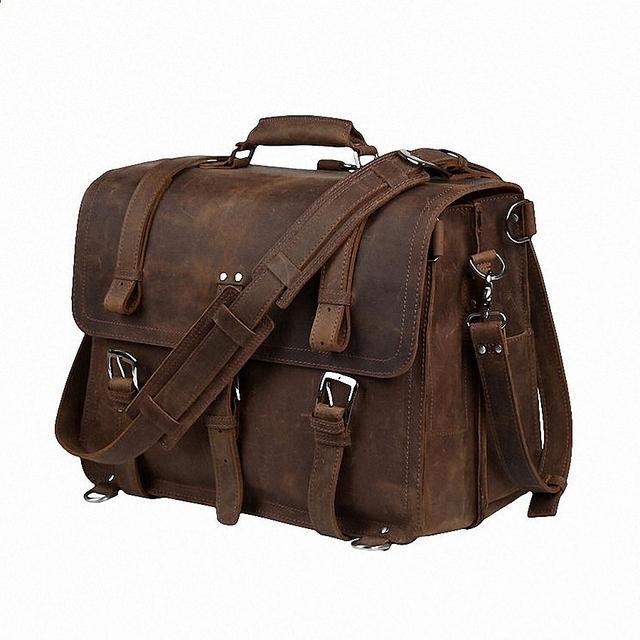 "Os mais recentes de Alta Qualidade Dos Homens de Cavalo Louco Do Vintage Genuíno Couro bolsa de Ombro Messenger Briefcase 15.6 ""Laptop Case bgs LI-645"