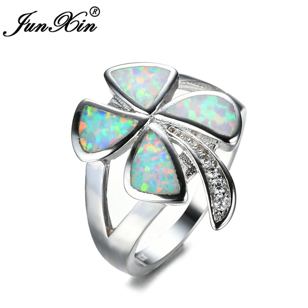 junxin female girls clover ring white fire opal ring 925 sterling silver filled fashion jewelry vintage wedding rings for women