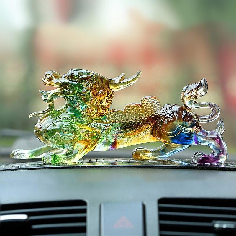 Mascotte artisanat exquis voiture décorations courageux troupes animaux poupées voiture tableau de bord verre ornements automobile intérieur accessoires