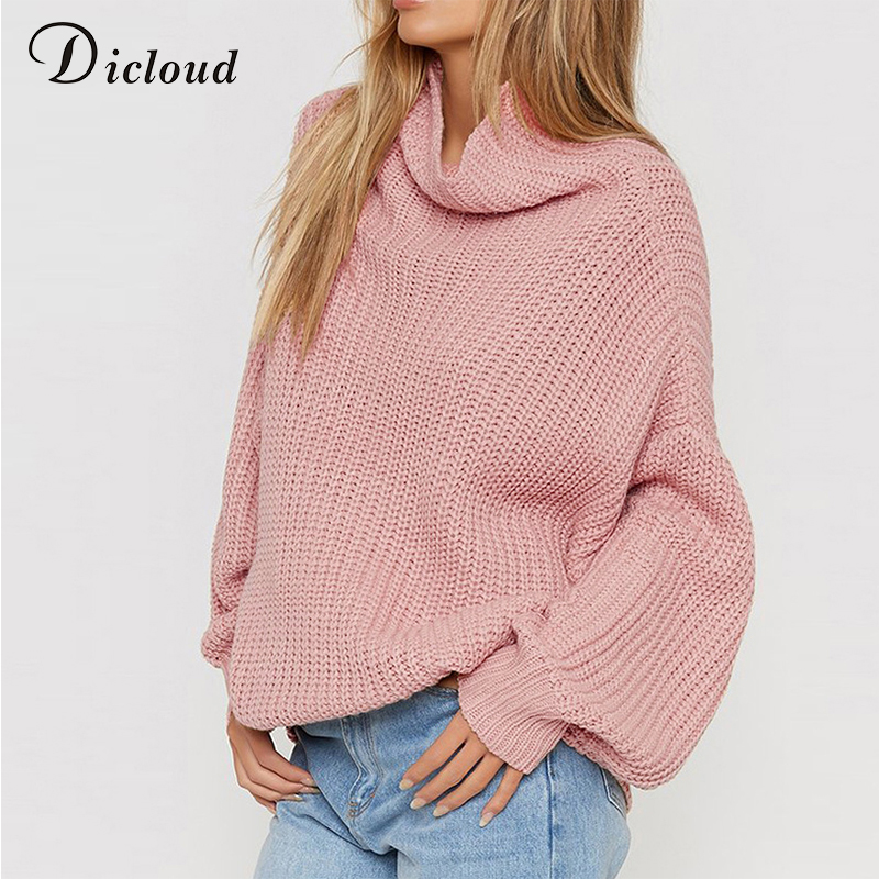 3d00dfc9c723 Dicloud women turtleneck sweater oversized pink plus size pullover autumn  2018 winter loose coarse knitted sweater ribbed female
