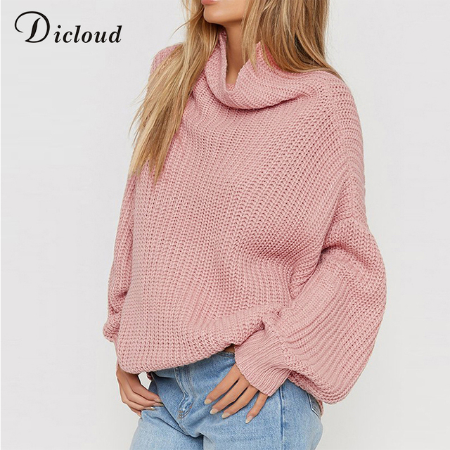 Dicloud women turtleneck sweater oversized pink plus size pullover autumn  2018 winter loose coarse knitted sweater ribbed female 209693e28