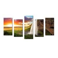 Wand-dekor Kunstwerk Natur Wasserfall Fotografie Leinwand Wandkunst landschaft Leinwand Set von 5 panel Leinwand Gemälde in Lebenden zimmer