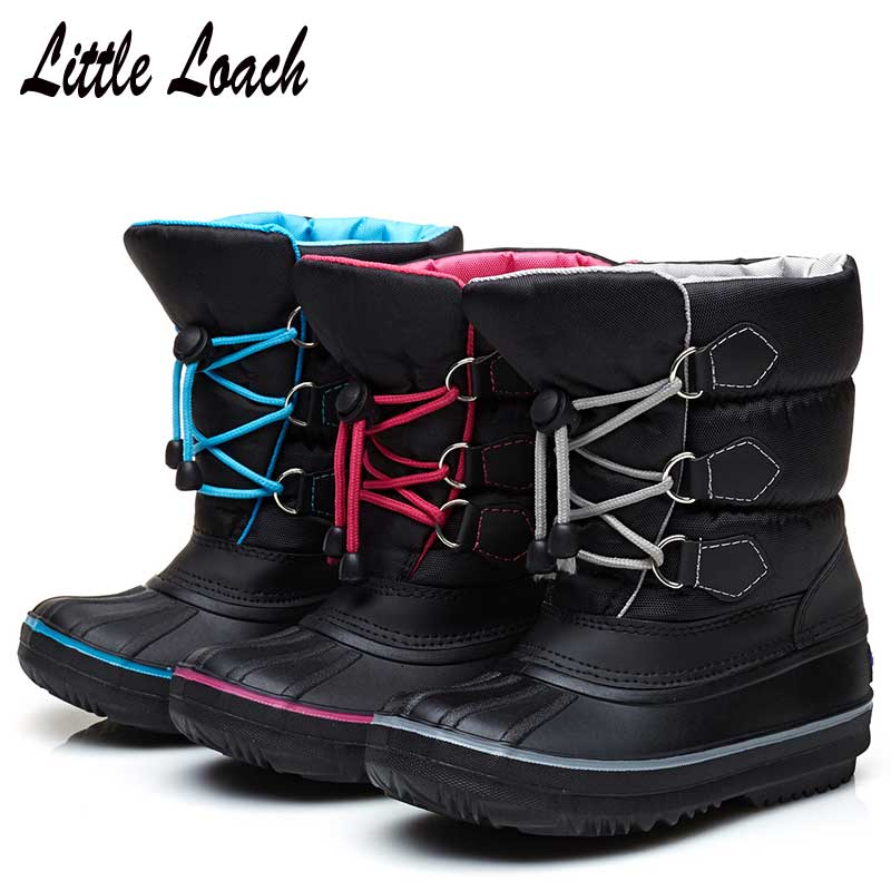Children's Snow Boots Kids Boots Winter Warm Shoes For Girls Boys Waterproof Casual Snowshoes Platform Plush Flat Patchwork