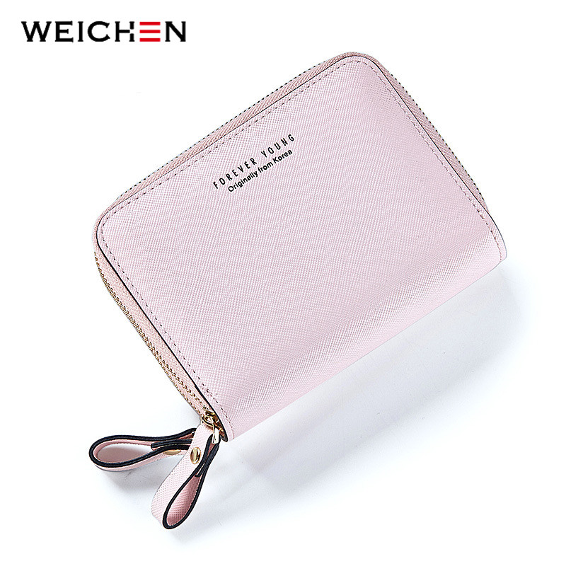 WEICHEN Double Zipper Designer Brand Fashion Leather Women Wallets Mini Purse Lady Small Leather Wallet Card Holder Coin Pocket simline fashion genuine leather real cowhide women lady short slim wallet wallets purse card holder zipper coin pocket ladies