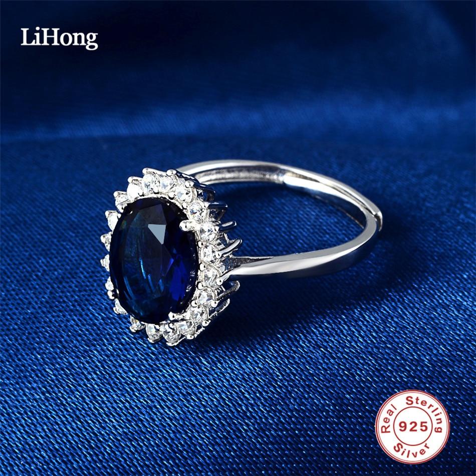 Anillos de bodas azul de piedras preciosas 925 Sterling Silver Clear - Joyas - foto 4