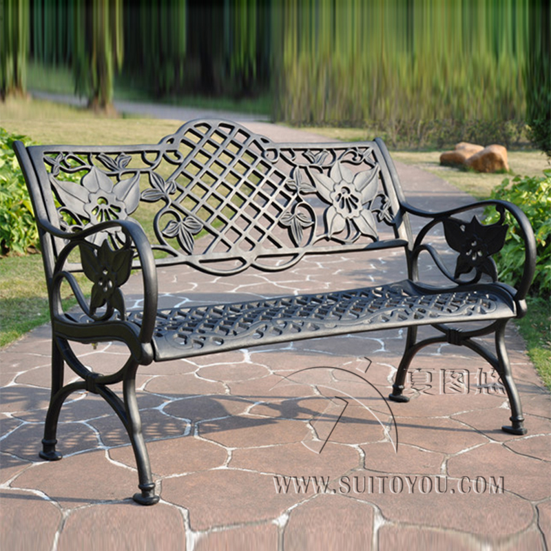 45 Inch Cast Aluminum Patio Garden Bench Park Bench Courtyard Leisure Conversation Seating Set For Home Furniture Decor