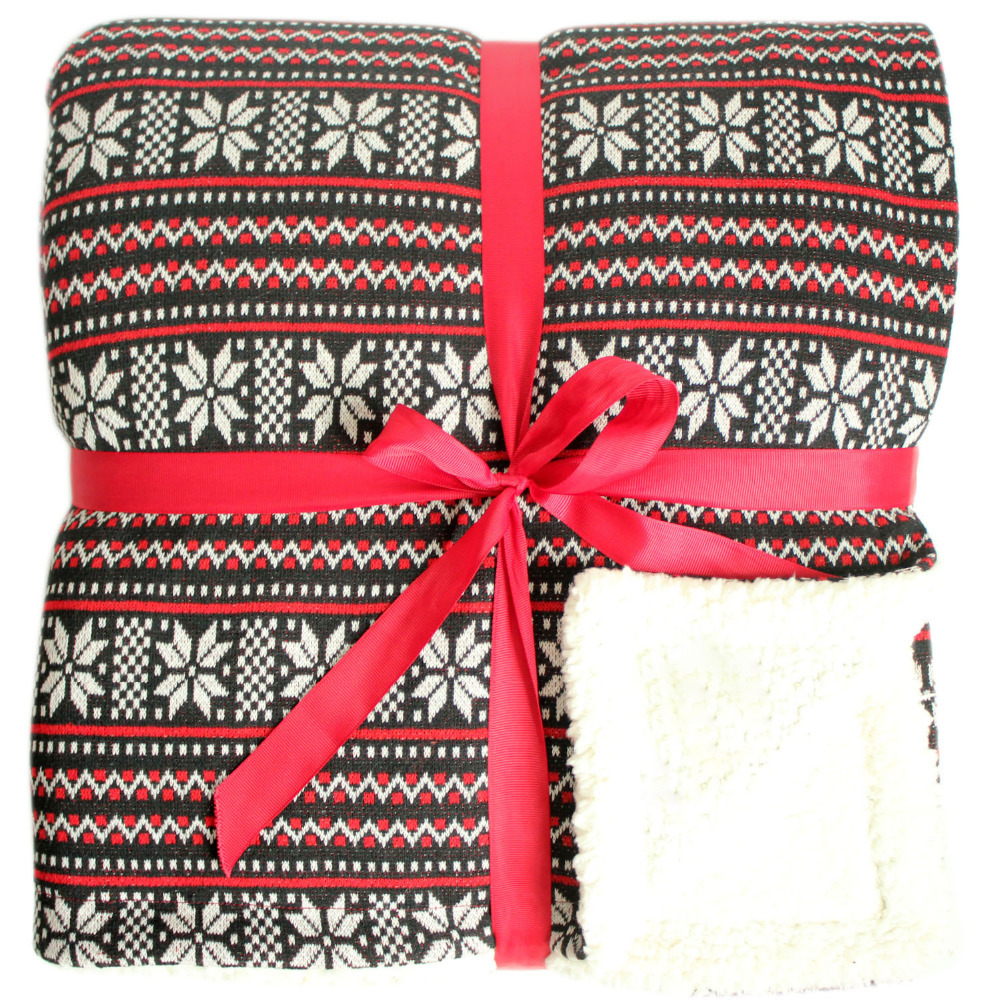 Promotion Knitting Snowflake Blanket Christmas Red Throw double ...