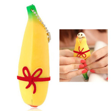 2017 New Novelty Funny Silicone Fruit Banana Stress Reliever Keychain Decompression Vent Toy YH-17