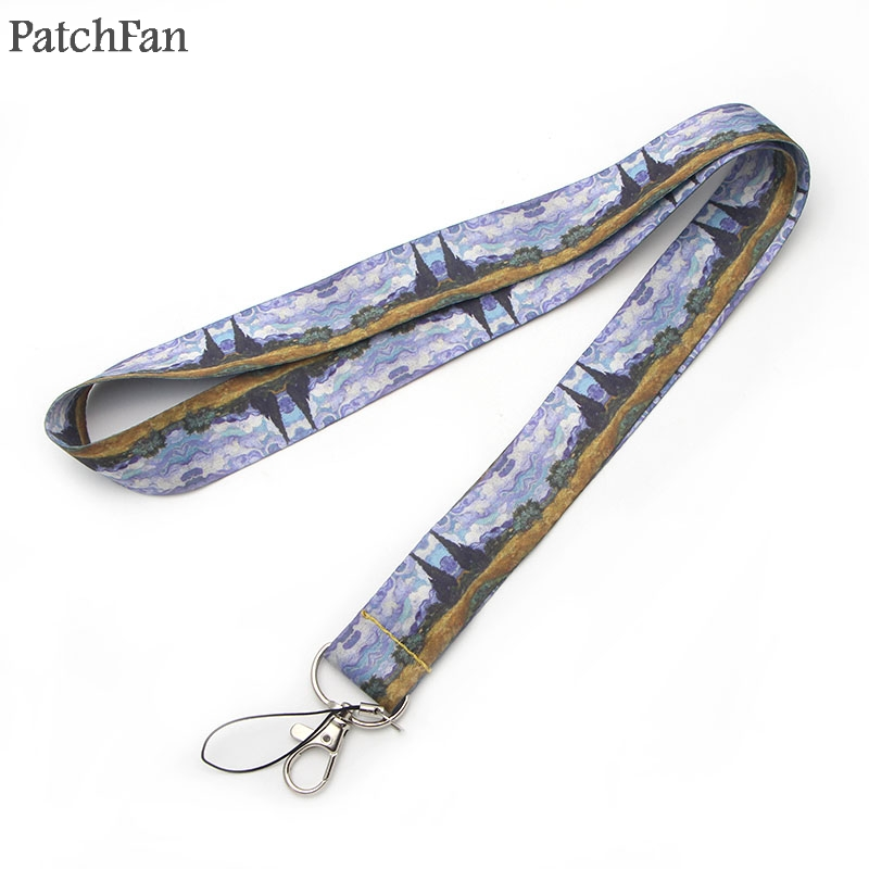 5 styles Patchfan Van gogh painting starry night sunflowers lanyard for Key Phones Keychains ID Name Tag Badge Holders A0246 in Webbing from Home Garden