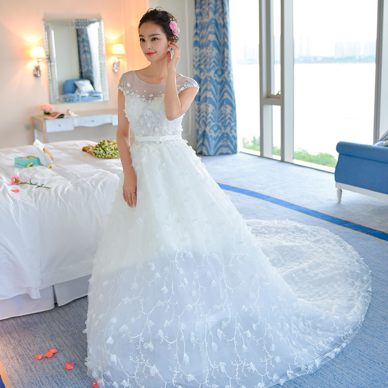 Plus Size Wedding Dress Crystal Long Wedding Dress White