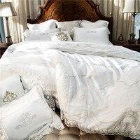 Weiß Stickerei Baumwolle Bettwäsche-sets Luxus Bettbezug Set prinzessin spitze rand Königin/König größe hochzeit Bettwäsche Bettwäsche